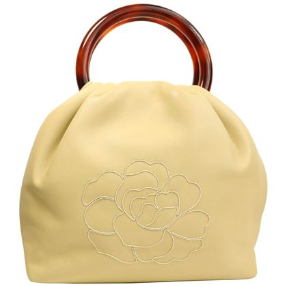 Chanel Beige Leather with White Stitched Camellia Bucket Bag Tortoise Handle