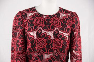 Dolce & Gabbana Red Black Floral Cotton & Silk Embroidered Dress