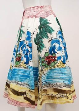 Vintage 1950s Hand Painted Mexican Souvenir White Skirt