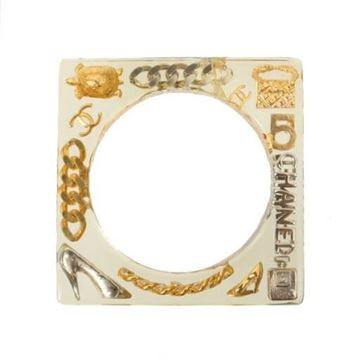Chanel 1990s Gold and Silver Logo and Charm Perspex Bangle