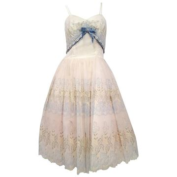 Vintage 1950s Embroidered Organza  White Party Dress