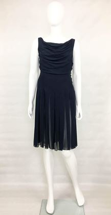 Chanel Draped and Pleated Silk Chiffon Midnight Blue Dress
