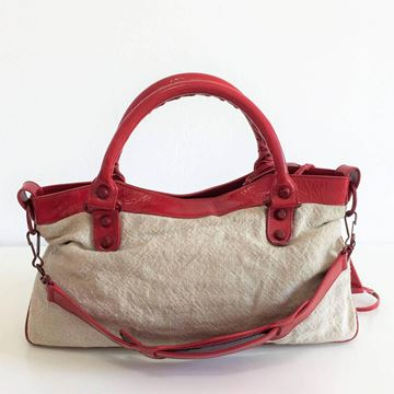 Balenciaga Beige Jute and Red Leather Handbag