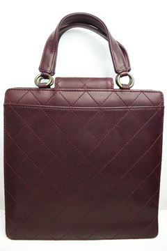 Chanel Burgundy Quilted Leather Top Handle Flap Bag