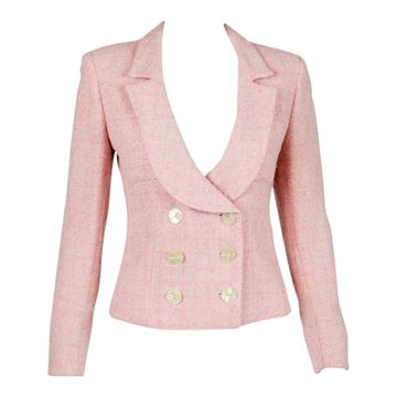 Valentino Miss V 1990s Pink Tweed Jacket
