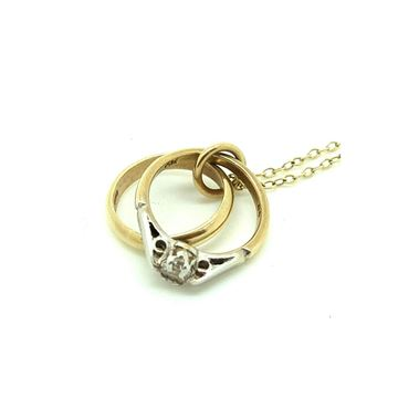Vintage 1966 9ct Gold Wedding Rings Charm Necklace