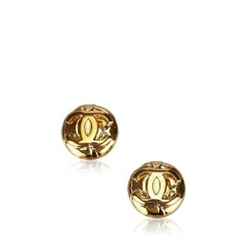 Chanel Round Gold Tone CC Logo Earrings