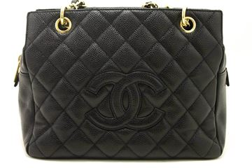 Chanel 1990s Black Quilted Caviar Petite Timeless Tote Bag