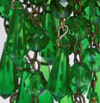 Vintage 1960s Faceted Green Glass Cluster Drop Earrings