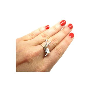 Vintage 1970s Silver & 9ct Gold Faith, Hope & Charity Ring