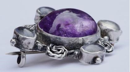 Antique Victorian Amethyst and Moonstone Silver Brooch
