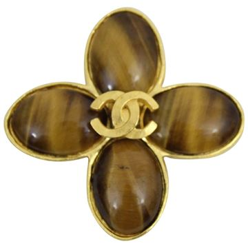 Chanel 1996 Vintage Gold Plated Amber Brooch