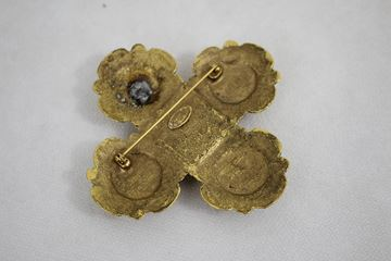 Chanel Gold Plated Gripoix Brooch