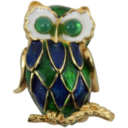 Vintage Carven super cute Owl Brooch