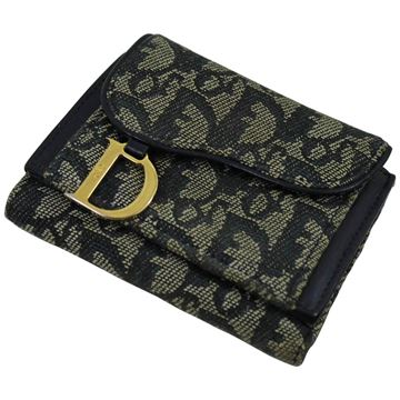 Christian Dior 1980s Leather and Monogram Canvas Black Wallet
