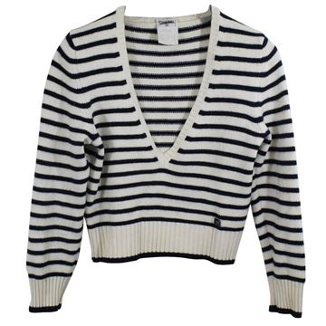 Chanel 2003 White Navy Wool Pullover
