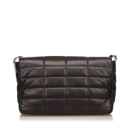 Chanel 1990s Lambskin Chocolate Bar Reissue Black Flap Bag