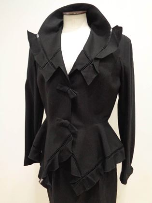 Thierry Mugler 1980s Drawn Thread Edge Black Skirt Suit