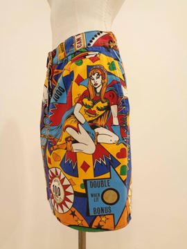 Moschino 1980s Pinball Print Multicoloured Vintage Skirt