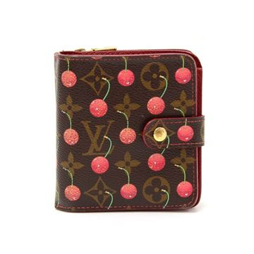 2005 Limited Edition Louis Vuitton Compact Zip Cherry Monogram Canvas Wallet