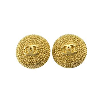 Chanel 1990s Gold Plated Twisted Rope Logo Earrings