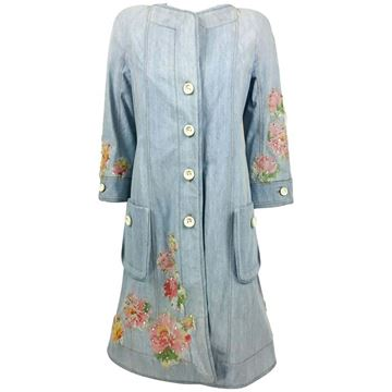 Christian Dior Runway by Galliano Crystal and Applique Embellished Denim Shirt Dress
