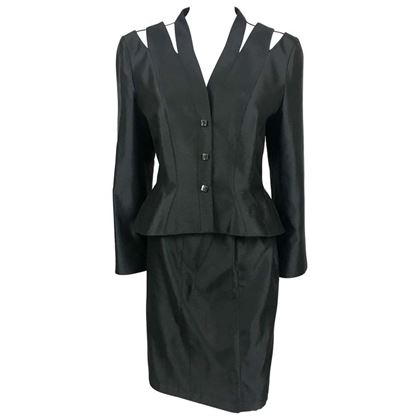 Thierry Mugler 1990s Slashed Shoulder Black Silk Skirt Suit