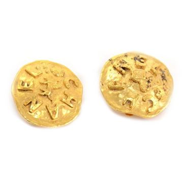 Chanel Gold Tone Uneven Round Earrings
