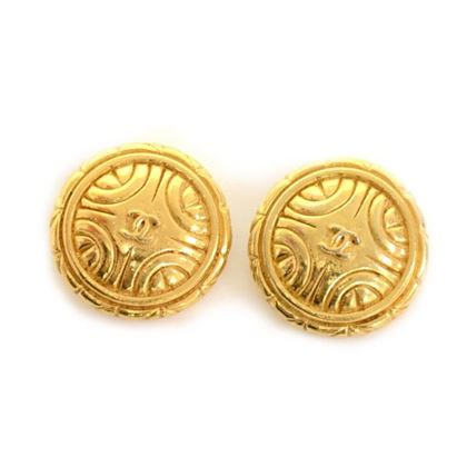 Chanel Engraved Gold Tone Round Earrings