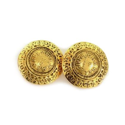 Chanel Rue Cambon Address Gold Tone Round Earrings