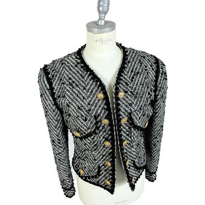 Moschino 1990s Grey Wool and Mohair Tweed Boucle Jacket