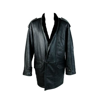 Gianni Versace 1980s Men's Motorcycle Shearling Black Coat