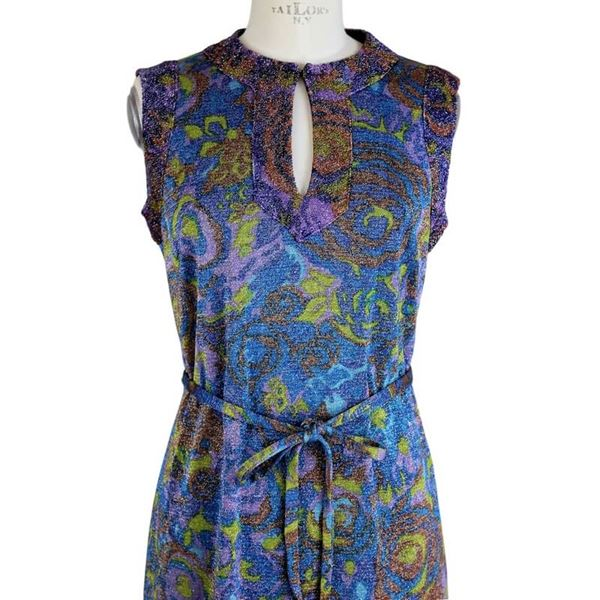 Sorelle Fontana 1960s Sleeveless Metallic Floral Dress