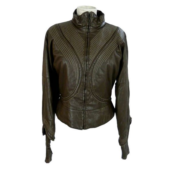Gianfranco Ferre 1980s Brown Leather Jacket