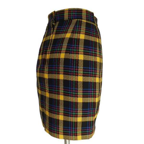 Gai Mattiolo 1980s Wool Boucle Yellow and Blue Check Skirt Suit