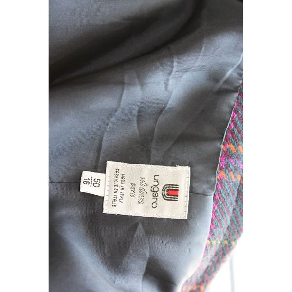 Ungaro Emanuel 1980s Wool Blue and Green Check Skirt Suit