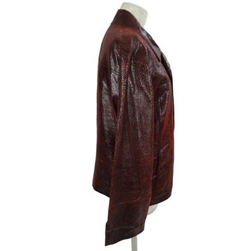 Roberto Cavalli 1990s Textured Leather Burgundy Red Jacket