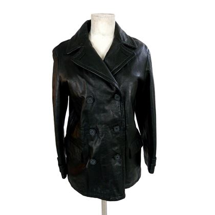 Giorgio Armani 1990s Black Double Breasted Leather Jacket