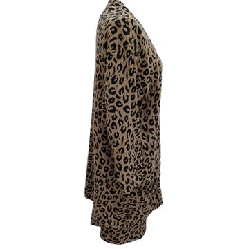 Krizia 1980s Animal Series Leopard Print Brown Knitted Skirt Suit