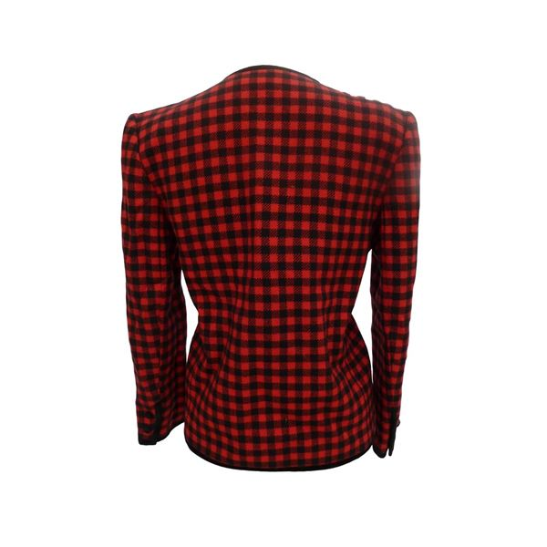 Valentino Boutique 1980s Black and Red Check Jacket