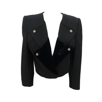 Valentino 1990s Layered Lapel Black Cropped Jacket
