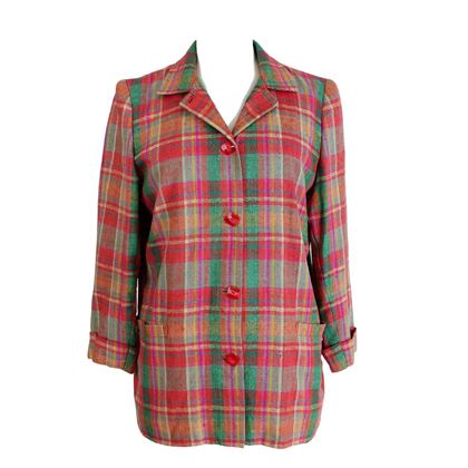 Valentino Atelier 1980s Cotton Tartan Red Jacket