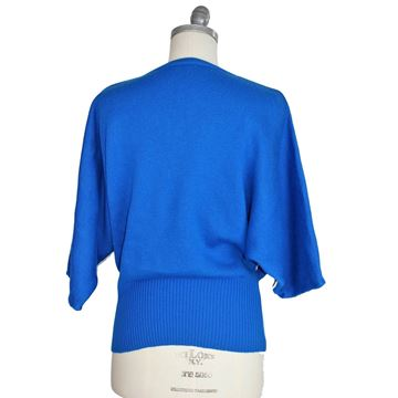 Pierre Cardin 1980s Knitted Batwing Blue Sweater