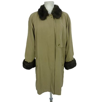 Burberry Beige Mink Fur Neck Trench Coat