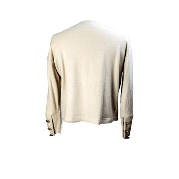 Mondrian 1980s Oversized Button Beige Wool Sweater