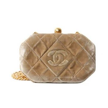 Chanel 1990s Octagonal Quilted Velvet Beige Evening Bag