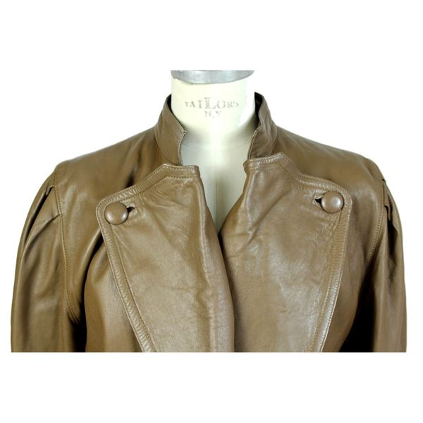 Ramirez 1980s Beige Leather Cropped Jacket