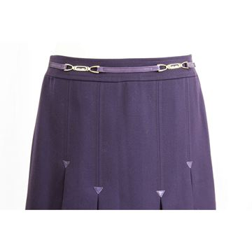 Celine 1980s Purple Wool Midi Skirt