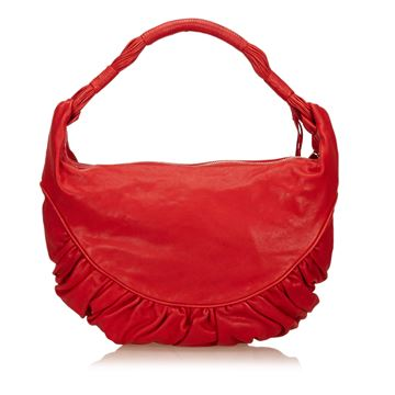 Red Christian Dior Leather Shoulder Bag
