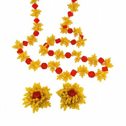 Christian Dior 1960s Lucite Flower Vintage Necklace and Earrings Set